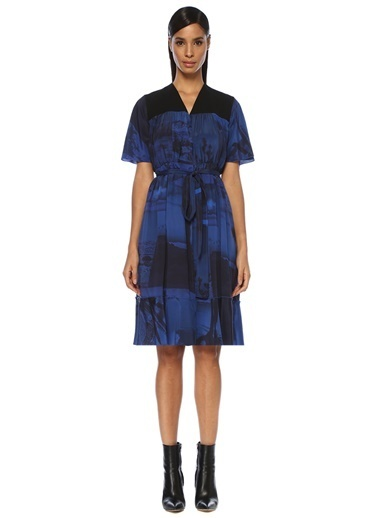 Academia V Yaka Desenli Beli Kuşaklı Midi İpek Elbise Mavi